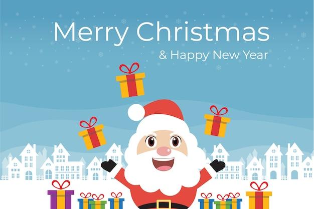 Санта-клаус с подарочной коробкой на рождество