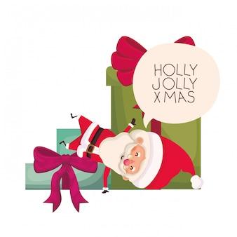 Santa claus with gifts boxs avatar character