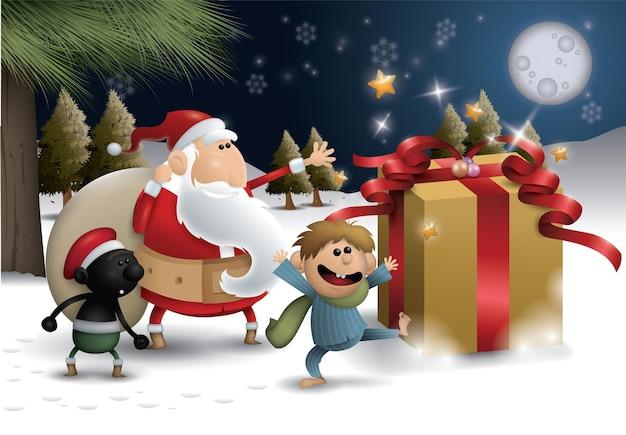 Санта-клаус с подарками дети носят рождественский костюм мультипликационного персонажа на снежном фоне