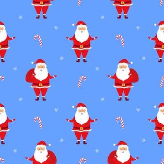 Санта-клаус с подарками. рождество и новый год бесшовные модели