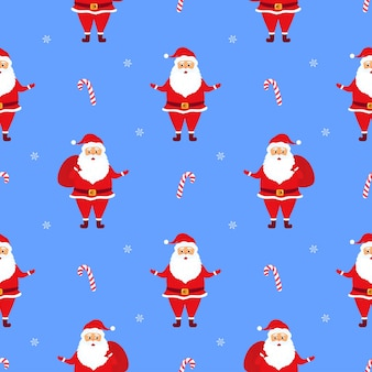 Santa claus with gifts. christmas and new year's seamless pattern