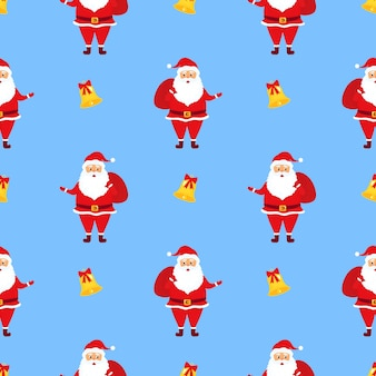 Santa claus with gifts. christmas seamless pattern