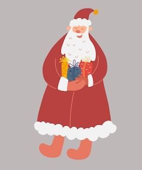 手に贈り物を持ったサンタクロース。明けましておめでとうまたはクリスマスカード。グリーティングカード、招待状、フレアに最適です。ベクトル漫画休日イラスト。