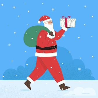 Santa claus with gifts merry christmas happy new year winter holidays illustration