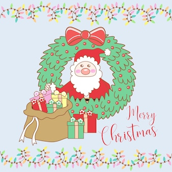 Santa claus with gifts on Christmas