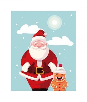 겨울 풍경에 진저 브레드 남자와 산타 클로스