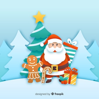 Santa claus with gingerbread man in paper style