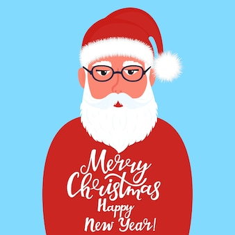 Santa claus with greeting hand drawn lettering merry christmas and happy new year
