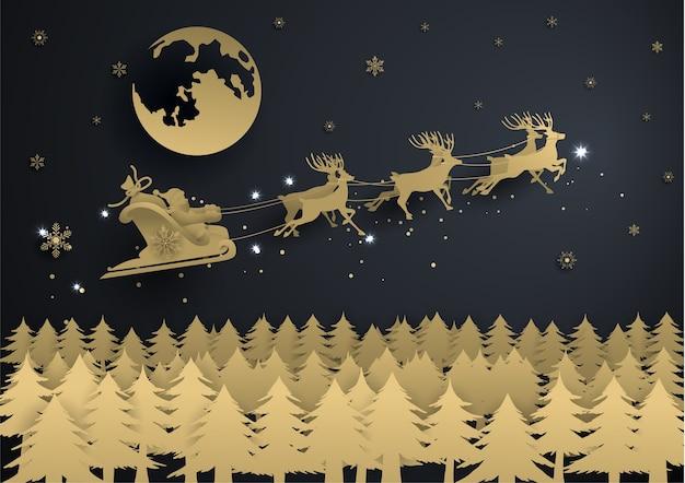 Santa claus with grow gold snowflake