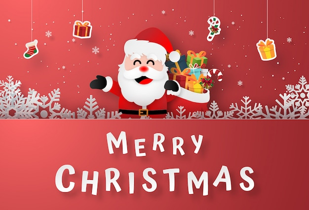 Santa claus with hanging gifts on christmas postcard