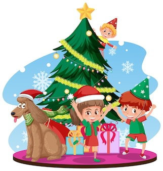 幸せな子供たちとクリスマスツリーとサンタクロース