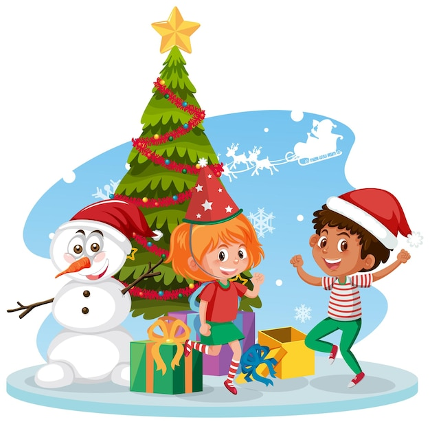 Santa claus with happy children and christmas tree