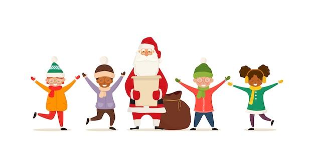 幸せな子供たちとサンタクロース。クリスマスの漫画のキャラクター。