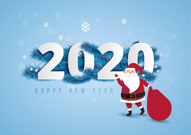 Santa claus with a huge bag on the walk to delivery christmas gifts at snow fall.2020 and happy new year text lettering  illustration.