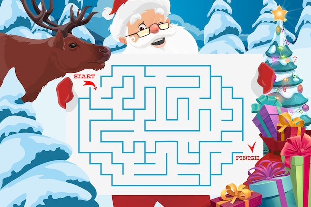 Santa claus with maze or labyrinth game template