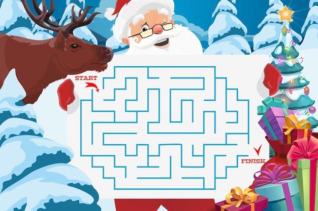 미로 또는 미로 게임 템플릿이 있는 산타 클로스