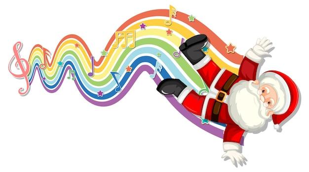 Санта-клаус с символами мелодии на радужной волне