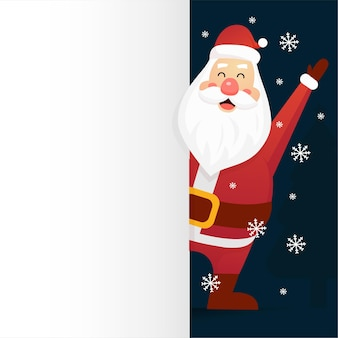 Santa claus with merry christmas lettering design. creative concept for holiday greeting.