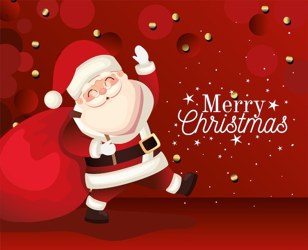 Santa claus  with merry christmas lettering, sparks and bag on red background