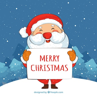 Santa claus with merry christmas poster background