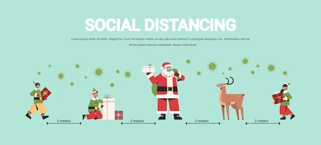 Santa claus with mix race elves in masks keeping social distance to prevent coronavirus new year christmas holidays celebration concept full length horizontal copy space vector illustration