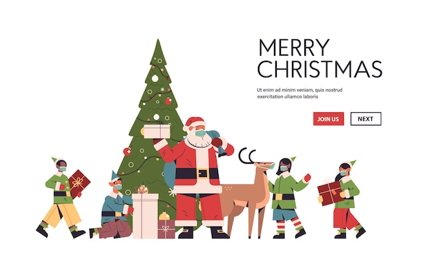 Santa claus with mix race elves in protective masks preparing gifts happy new year merry christmas holidays celebration concept full length horizontal copy space vector illustration