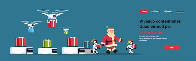Santa claus with modern robot helper team drone present delivery service gift box merry christmas happy new year concept artificial intelligence