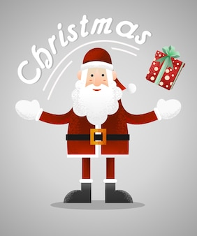 Santa claus with a present vector illustration