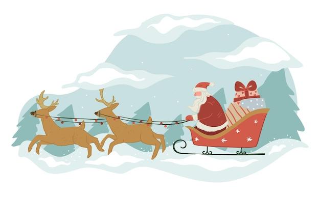 Дед мороз с подарками едет на санях с оленями. дед мороз поздравляет с рождеством и новым годом, доставляет подарки на зимние праздники. рождественские подарки для людей, сезонные развлечения, вектор