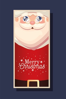 Santa claus with a red suit and merry christmas lettering  illustration