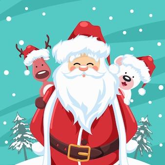 トナカイとクリスマスのクマとサンタクロース