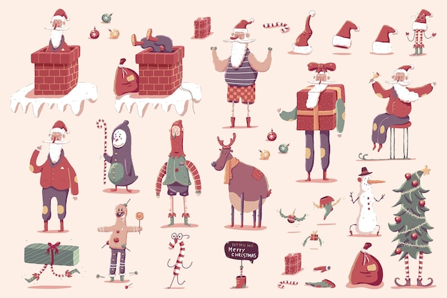 Santa claus with reindeer, christmas tree, elf, penguin and holiday elements vector cartoon set isolated on background.