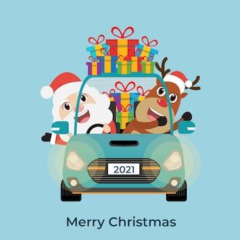 Santa claus with reindeer driving car