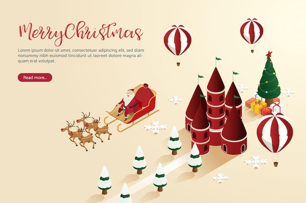 クリスマスの街の不思議の国の幻想的なギフトバルーンの上を飛んでいるトナカイとサンタクロース