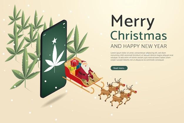 トナカイが飛んでいるサンタクロースマリファナの植物とスマートフォンの背景を介してギフトを送信します