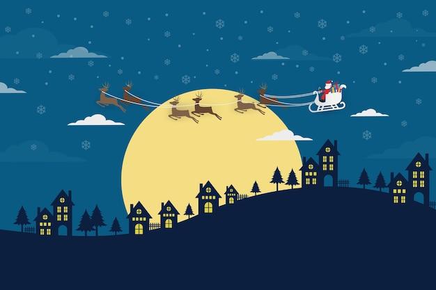 Санта-клаус с оленями на ночном небе
