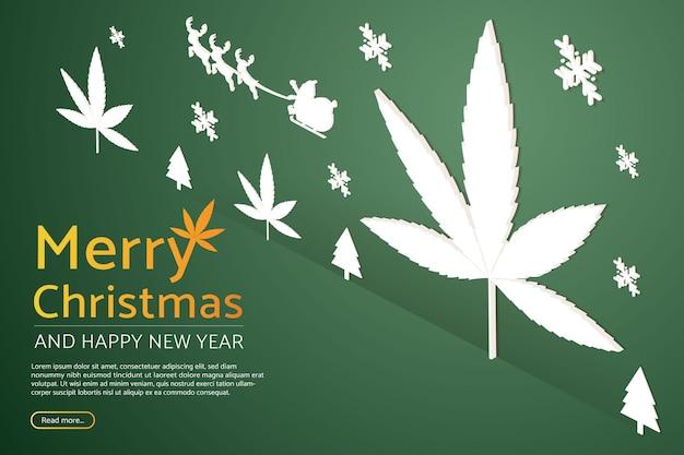 トナカイの看板とクリスマスツリー大麻マリファナ植物照明付き看板の背景とサンタクロース