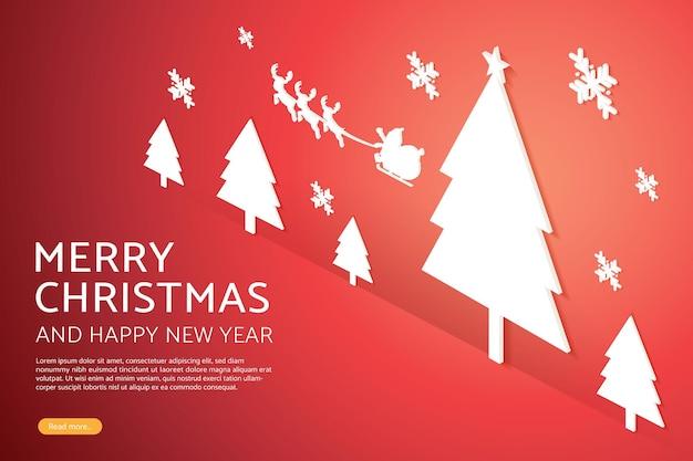 トナカイの看板とクリスマスツリーの照明付き看板背景壁赤のサンタクロース