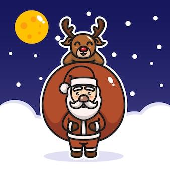 Санта-клаус с оленями на фоне снега