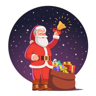 Санта-клаус с мешком, полным подарков