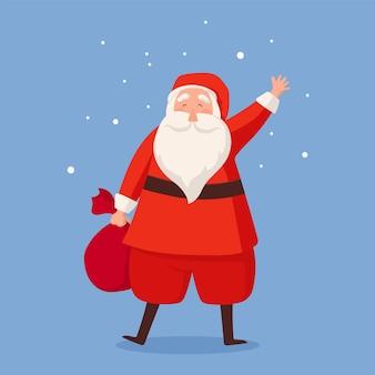 贈り物や雪片の袋とサンタクロース