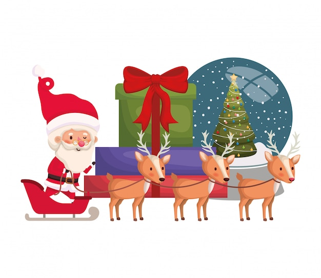 Santa claus with sled and reindeer avatar character