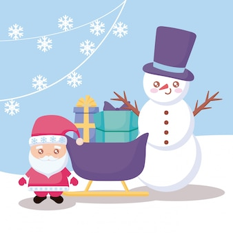 Santa claus with sled and snowman