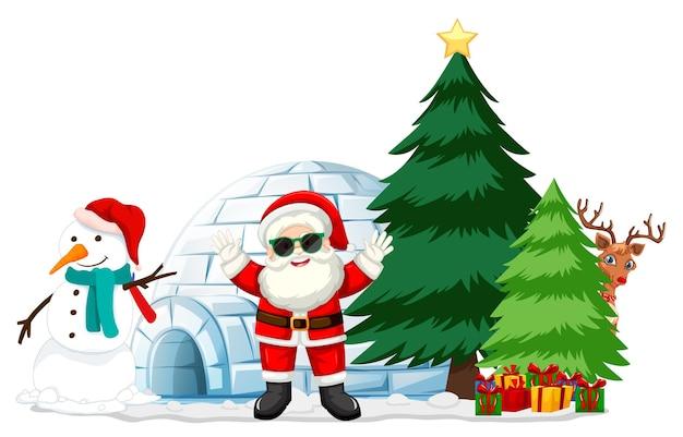 흰색 바탕에 눈사람 및 크리스마스 요소와 산타 클로스