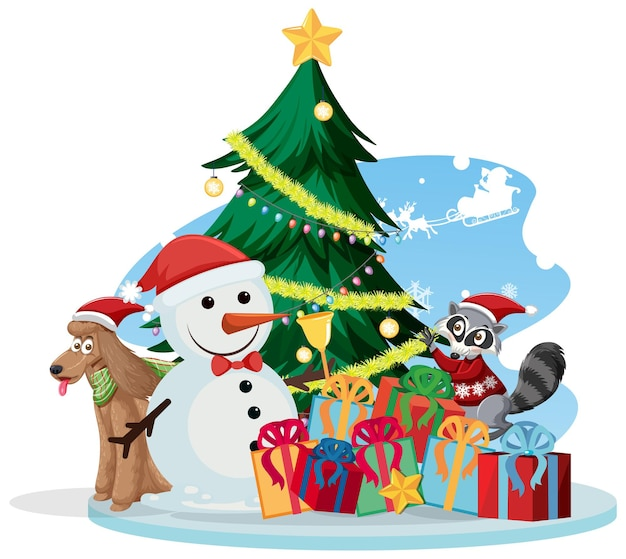 雪だるまとクリスマスツリーとサンタクロース