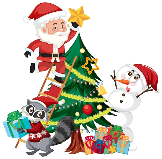 Santa claus with snowman and christmas tree