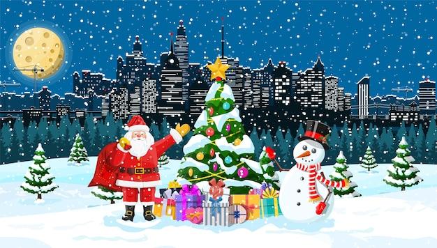 雪だるまとサンタクロース。クリスマスの冬の街並み、雪片、木々。メリークリスマスシーン