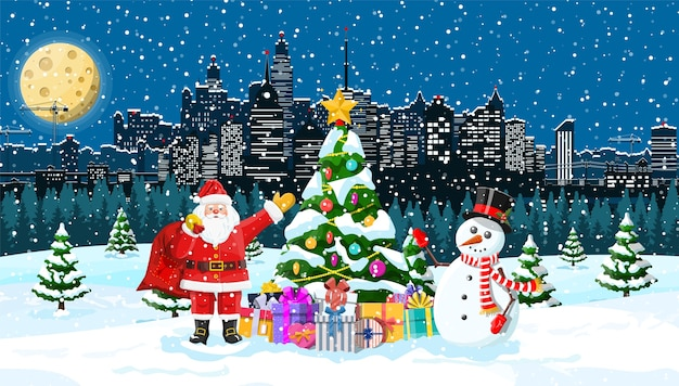 Santa claus with snowman. christmas winter cityscape, snowflakes and trees. merry christmas scene