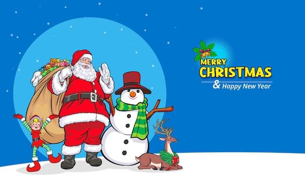 Santa claus with snowman deer elf merry christmas happy new year banner pop art comics style