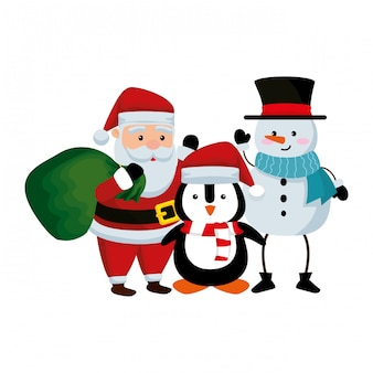 Santa claus with snowman and penguin